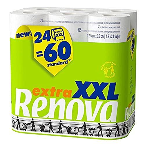 Renova Papel Higiénico XXL | 24 Rollos equivalentes a 60 Rollos Estándar | Papel Blanco