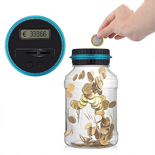 ONEVER Creative Digtal Münze Jar Automatische Münze Zähler Geld Bank Sparen Box mit LCD Dispaly, 2,5L große Kapazität für Münzen, perfekte Geschenk für Kinder