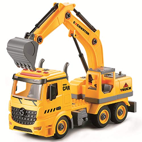 Acksonse Excavator Toys for Boys, DIY Friction Powered Kids Construction Toy Vehicles with Light & Sound, Digger Engineering Truck for 3 4 5 6 Year Old Boys Girls Toddler Children Birthday Gift