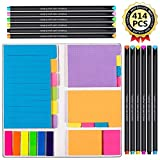 Vicnova Large and Small Sticky Notes Set with Fineliner Color Pens Set- 60 Ruled Lined Notes 4x6, 48 Dotted...