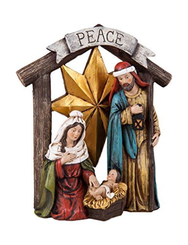 Transpac Imports, Inc. Peace Banner Holy Family 7.5 x 6.5 Resin Stone Christmas Nativity Figurine