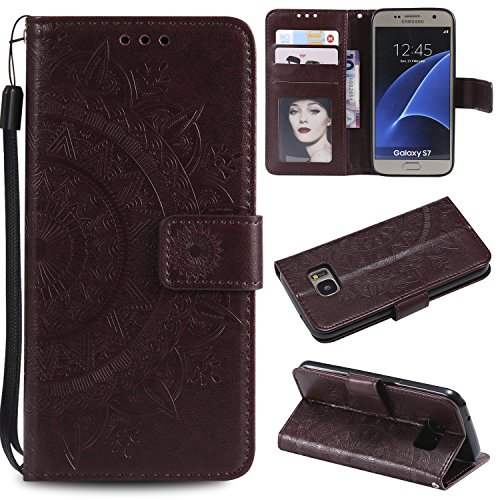 Trugox Samsung Galaxy S7 / G930 Hülle Leder Totemblume, Schutzhülle Brieftasche mit Kartenfach Klappbar Magnetverschluss Stoßfest Kratzfest Handyhülle Case für Samsung Galaxy S7 - LOHHA10616 Braun