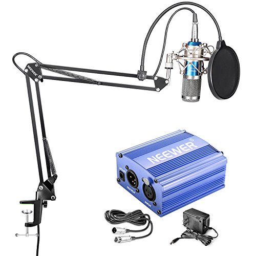 Neewer NW-800 Condenser Microphone Kit - Mic(Blue/Silver) and 48V Phantom Power Supply(Blue),NW-35 Boom Scissor Arm Stand with Shock Mount and Pop Filter(Black),XLR Cable for Home Studio Recording