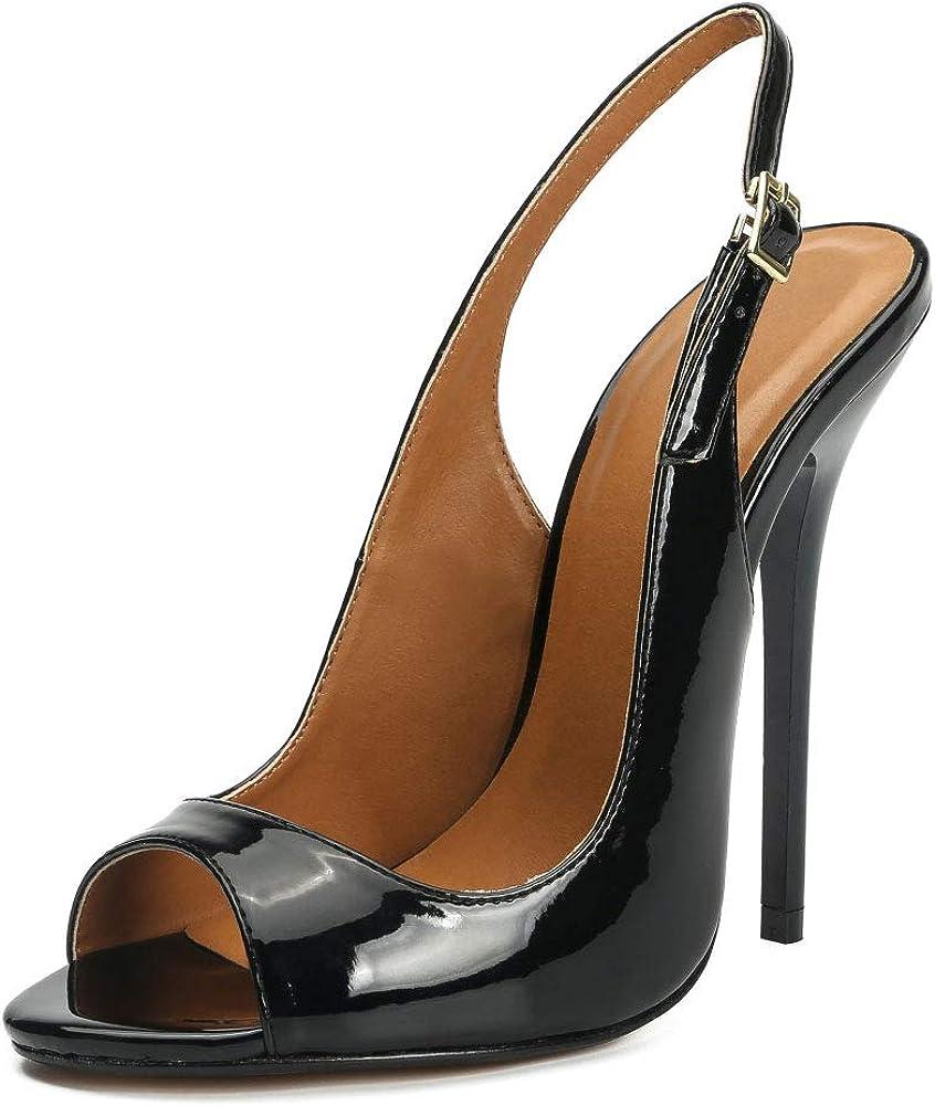 Enelauge Unisex Mens Womens Peep Toe Slingback High Heels Sandals Stiletto Slip On Pumps Wedding Party Dress Shoes