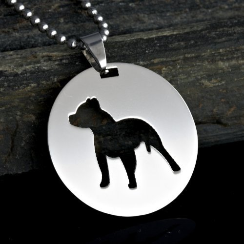 Stainless Steel Round Shape Pitbull Pit Bull Staffordshire Bull Terrier Dog Silhouette Pet Dog Tag Breed Collar Charm Pendant Necklace