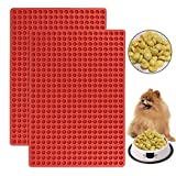 Fasmov 2 Pack 468 Cavity Mini Round Silicone Mold Chocolate Drops Mold Dog Treats Pan Semi Sphere Gummy Candy Molds, Red