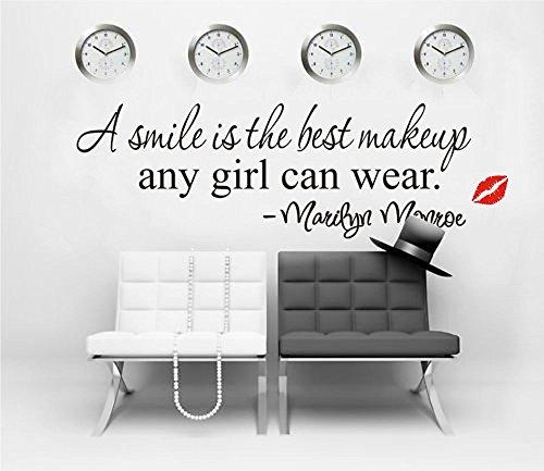 ufengke Pegatinas de Pared Motivacional Citas A Smile Is The Best Makeup Adhesivos Vinilos Pared Marilyn Monroe Letras Extraíble Calcomanías para Sala de Estar Dormitorio