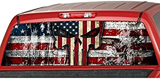 MotorINK American Flag Punisher Skull Rear Window Graphic Decal Tint Sticker Truck SUV ute (Large 22