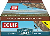 Clif Bars - Sweet & Salty Energy Bars - Chocolate Chunk with Sea Salt - Made with Organic Oats - Plant Based Food - Vegetarian - Kosher (2.4 Ounce Protein Bars, 12 Count) Packaging May Vary
