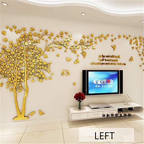 Groot formaat boom acryl decoratieve 3D-muursticker DIY kunst-TV achtergrond muur poster wooncultuur slaapkamer woonkamer muursticker muursticker S about 1.0x2.0m Golden Left