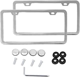 X AUTOHAUX a17081100ux0033 Pcs Slim Stainless Steel 2 Hole License Plate Frame Holder w/Screw Caps-Silver Tone