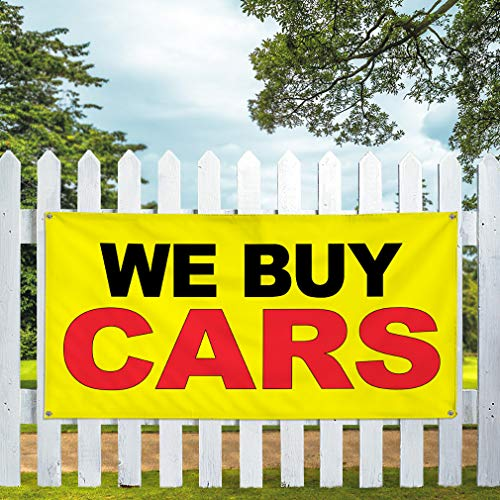 Vinyl Banner Multiple Sizes We Buy Cars Yellow Background Black Red Automotive Outdoor Weatherproof Industrial Yard Signs 4 Grommets 24x36Inches