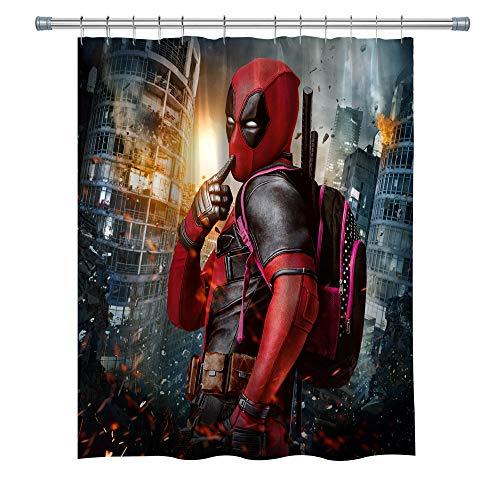 Deadpool Duschvorhänge, wasserdichter Polyester-Stoff, Badezimmer-Vorhang, Dekor-Duschvorhang-Set, Haken enthalten, 180 x 180 cm