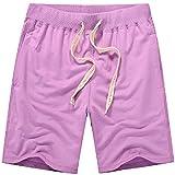 Pantalones cortos de verano de los deportes casuales pantalones de los hombres grandes de algodón puro de 5 puntos pantalones cortos de baloncesto Morado violeta 42