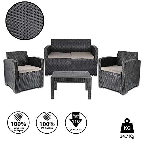 Cepewa Sitzgruppe 4 TLG. Polyrattan inkl. Auflagen für den Outdoorbereich anthrazit/Creme Gartenmöbel Loungemöbel - 3