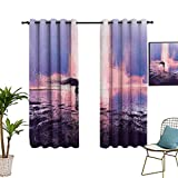 Fantasy Art House Decor Blackout Curtains Trippy Spiritual Girl in Wind with Blowing Long Hair on the Water Privacy Assured Window Treatment Window Curtain for Living Room 42'x54' Pink Blue