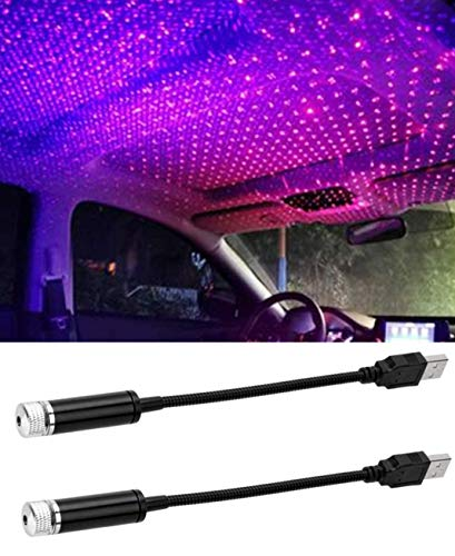 2019 Romantic Auto Roof Star Projector Lights, Flexible Romantic Galaxy USB Night Lamp Fit All Cars Ceiling Decoration Light Interior Ambient Atmosphere (Red+Purple(2pcs Lights))