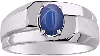 Mens Ring with Oval Shape Solitaire Gemstone in Sterling Silver .925-7X5MM Color Stone Birthstone Rings
