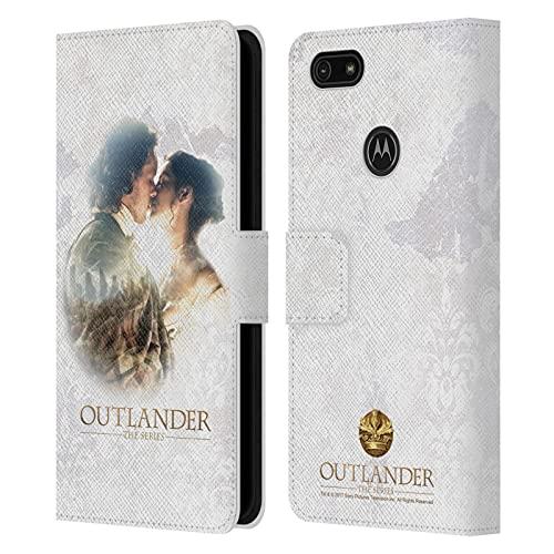 Head Case Designs Licenza Ufficiale Outlander Claire E Jamie Bacio Primi Piani Cover in Pelle a Portafoglio Compatibile con Motorola Moto E6 Play