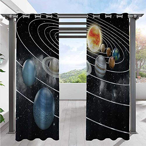 Custom Outdoor Curtain Solar System All Eight Planets and The Sun Pluto Jupiter Mars Venus Science Fiction Indoor Outdoor Blackout Privacy Curtain Blocks Late Afternoon Sun Black Grey W84 x L96 Inch