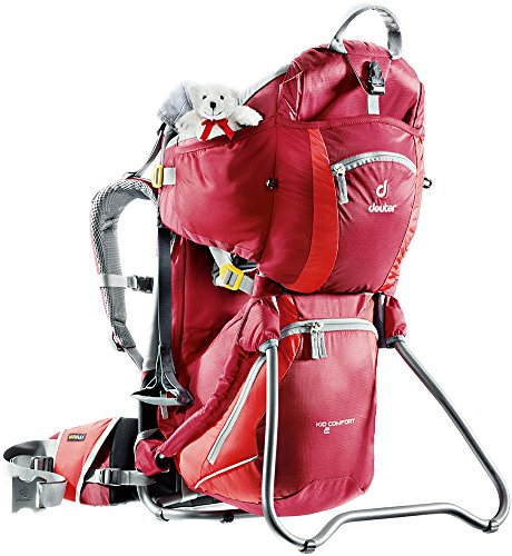 Deuter Kid Comfort 2 Framed Child Carrier for Hiking, Cranberry/Fire