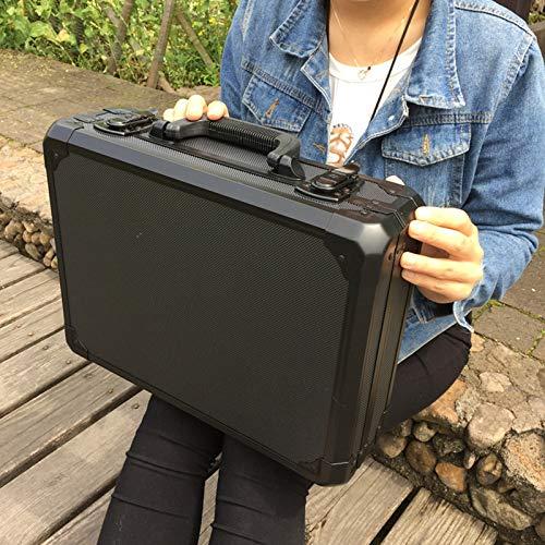 Toolbox LKU Aluminium Toolbox koffer Toolbox File Box slagvaste veiligheidskist apparatuur Camera doos, Zwart met schuim, 400,300,120 mm