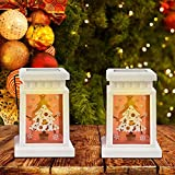 Christmas Solar Candle Lanterns - 2 Pack Solar Lights Outdoor Hanging, Table Decorative La...