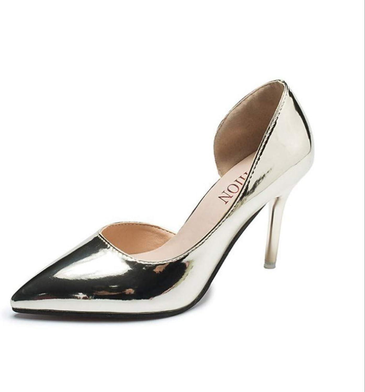 Gold Shiny Side High Heel Stiletto Pointed Woherren Sandals