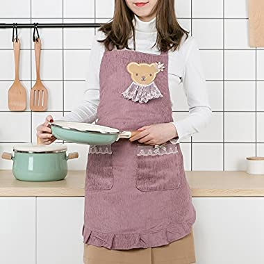 Kitchen Apron with Pockets for Women - Heavy Duty Apron Made of Corduroy, Waterproof (PURPLE)