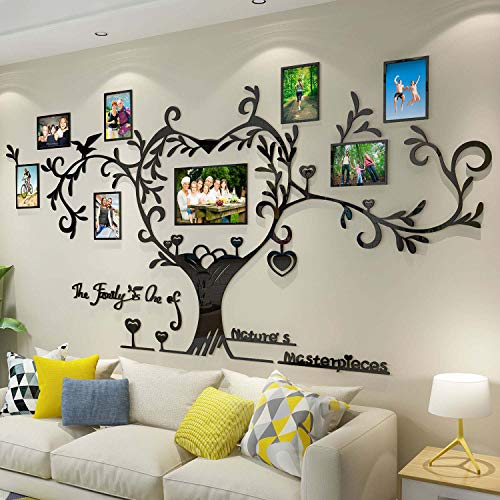 DecorSmart Love Family Tree Picture Frame Collage Removable 3D DIY Acrylic Wall Decor Stickers with Inspirational Quote for Living Room