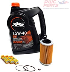 Fits ALL 4-TEC Models - 2002+ GTI/ GTX/ RXP/ RXP-X/ RXT-X 130/155/185/215/255/260HP Kit includes 1 Gallon of OEM BRP 5W-40 Synthetic Blend Oil Kit includes PWCParts Hi-Flo Oil Filter, NGK Spark Plugs, Oil Filter Cap O-Ring Set. Repacing the O-Rings a...