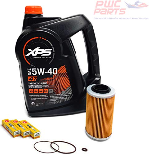 SeaDoo 4-TEC Oil Change Kit ALL 2002+ 4-TEC 130/155/185/215/255/260hp GTX RXT RXP RXP-X RXT-X GTI w/ 1 Gallon XPS 05W30 Oil, 4-TEC Oil Filter, O-Ring Kit, and NGK Spark Plug Set