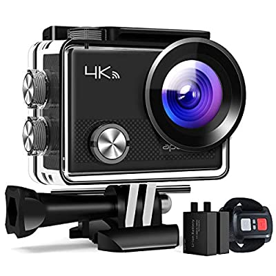 APEMAN Action Cameras A77,4K 20MP Webcam Ultra Full HD Wi-Fi Sport Cam 30M Diving Underwater Camera with 2.0'' LCD Screen 170° Wide View Angle/2.4G Remote Control/2 Rechargeable Batteries