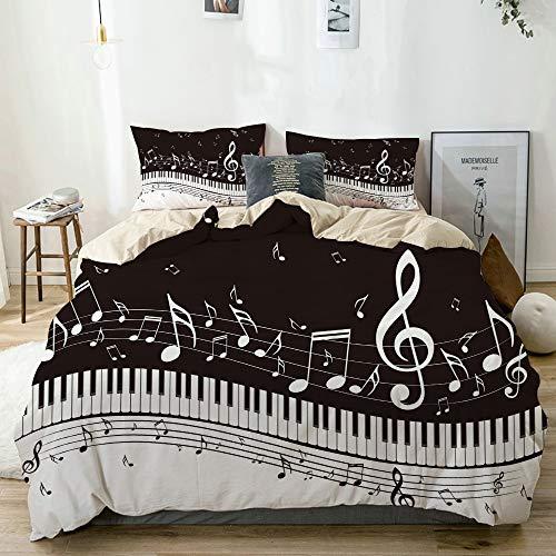 KOSALAER Bedding Juego de Funda de Edredón,Ilustración Abstracta de Teclas de un Piano con Fondo de Notas Musicales,de Almohada de Microfibra,220 x 240cm