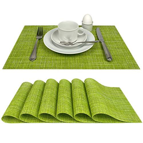 Delindo Lifestyle® Tischsets Platzsets Capri, abwaschbar, im 6er-Set, grün, Tisch Unterlage ist abwischbar