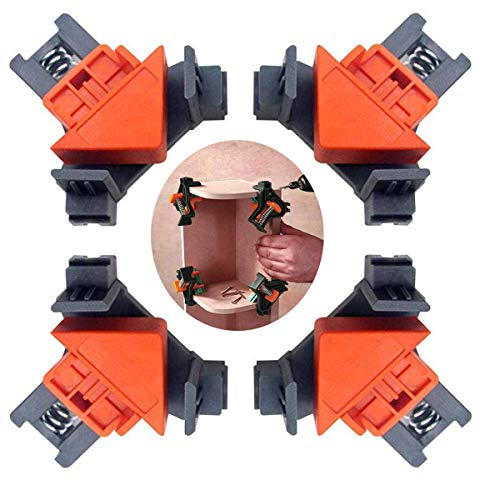 4pcs 90 Degree Angle Clamps , Corner 90° Woodworking Corner Clip, Right Angle Clip Fixer, Clamp Tool with Adjustable Hand Tools (4PCS2)