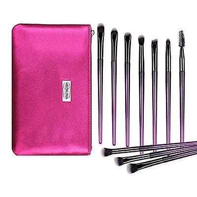 10 pcs Professional Eye Makeup Brushes Kit - HEDILINA Makeup Brushes Set, Blending Eyeshadow Eyebrow Concealer Smudge Lip Brushes (Rose Red)