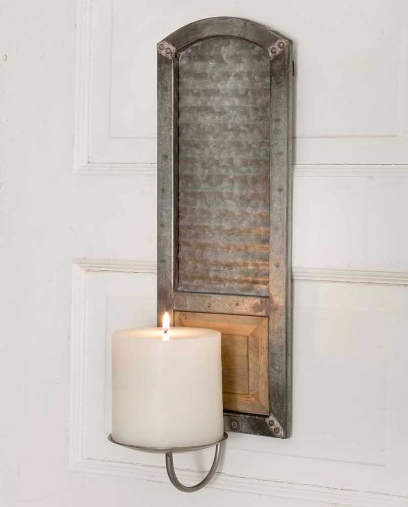 Rustic Metal Washboard Sconce Special price for a limited time Attention brand Candle Pillar