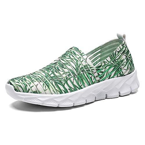 Zapatos para Corror Mujer Zapatillas de Deportiva Slip on Huecos Sneakers para Caminar Walking Calzado Malla Transpirables Loafer Ligeros Mocasines Verano Verde 38 EU