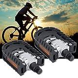 Quanjucheer Montagne Vélo pliant Pédales, durable, universelle en alliage d'aluminium de vélo Pédales antidérapant pour cyclisme randonnée, Noir , 95mm x 70mm x 30mm