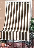 Toldo con kit de ganchos y anillas, de tela resistente, para exterior o balcón, lavable, color marrón y blanco, a rayas, 150 x 250 cm