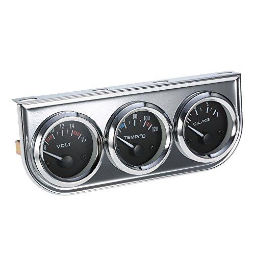 KKmoon 52 MM Öldruck Celsius Wassertemperaturanzeige Voltmeter Chrom 3 in 1 Messgerät Kit Auto Motorrad Meter