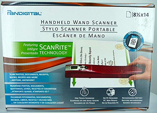 : Pandigital Red Handheld Wand Scanner Scan Photos Documents Receipts Books Recipes and More