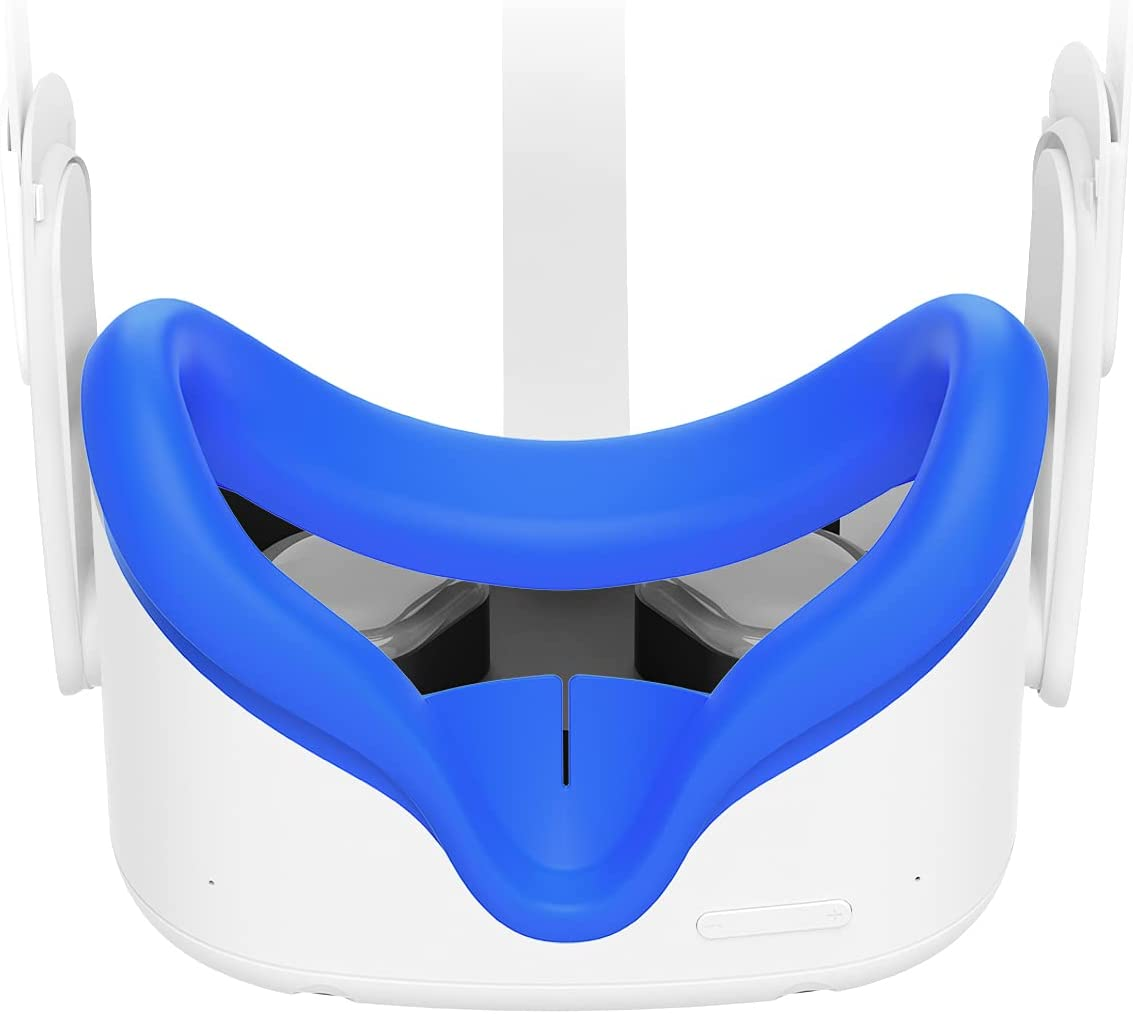VR Face Cover for Oculus Quest 2, Sweatproof Silicone Face Pad Mask & Face Cushion for Oculus Quest 2 VR Headset-Blue