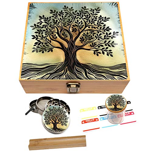 Tree of Life Stash Box Combo - Large 4 Part Herb Grinder with Pollen Catcher and UV Stash Jar and Rolling Tray
