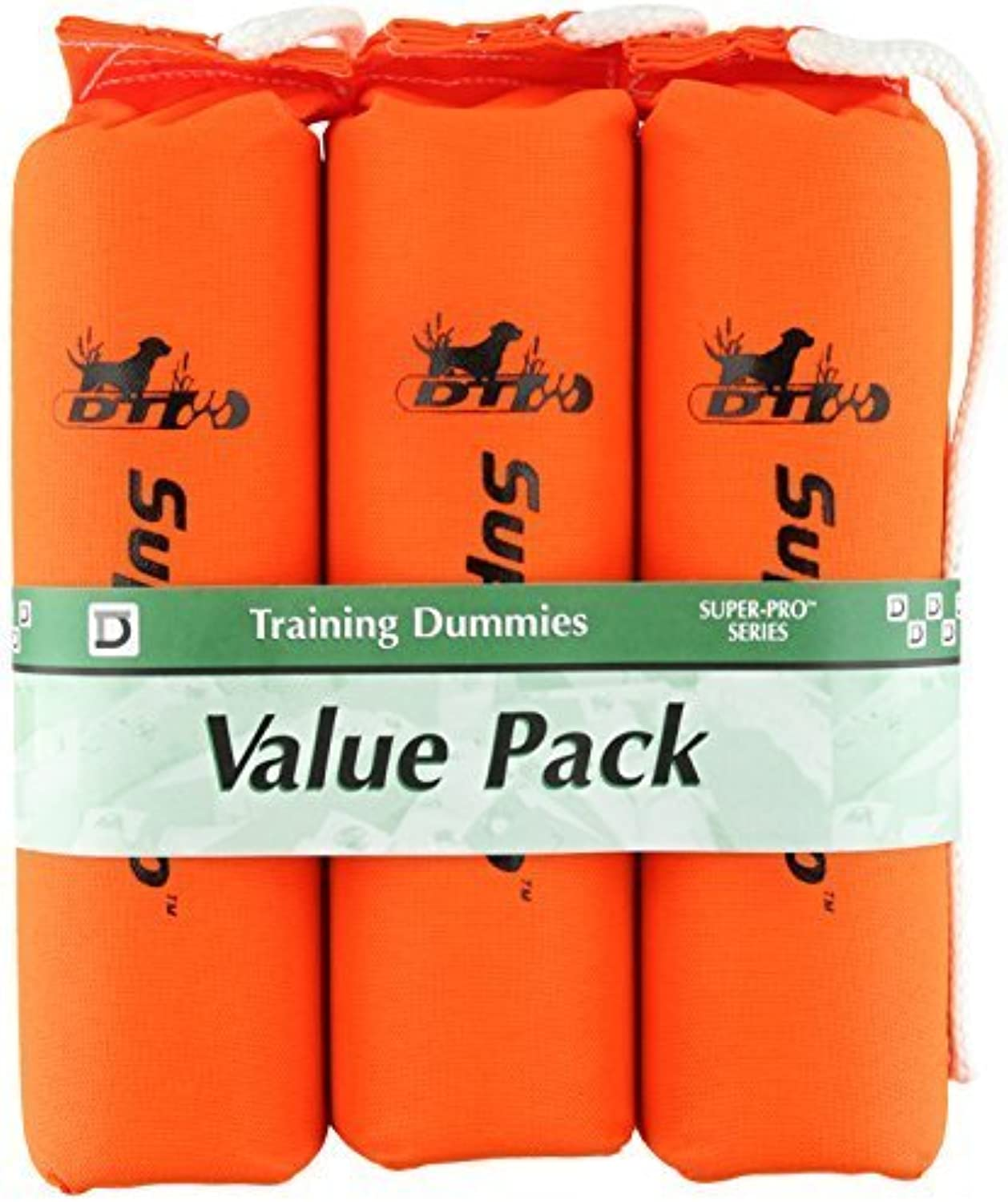 D.T. Systems Cordura Nylon Dog Training Dummy, Blaze orange, Large, 3Inch by 12Inch, 3Pack by D.T. Systems