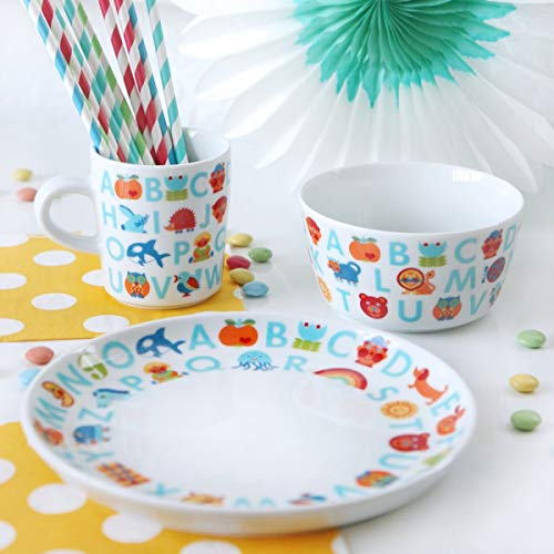 ABC Kindergeschirr | Kinder Porzellan Geschirr-Set 3-teilig