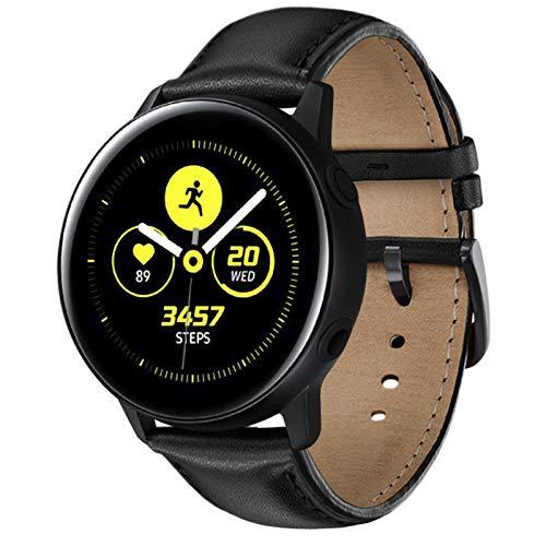 NEAWO Kompatibel mit Galaxy Watch Active/Active 2 40mm 44mm Armband, Galaxy Watch 42mm Armband, Gear S2 Classic Armband, Gear Sport Armband, Echt Leder Ersatzarmband (20mm, Leder Schwarz)