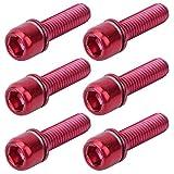 Alomejor1 Tornillos de vástago de Bicicleta 6Pcs/Set M5x18mm Aleación de Titanio Tornillos de vástago Fijo Tornillos cónicos (Rojo)