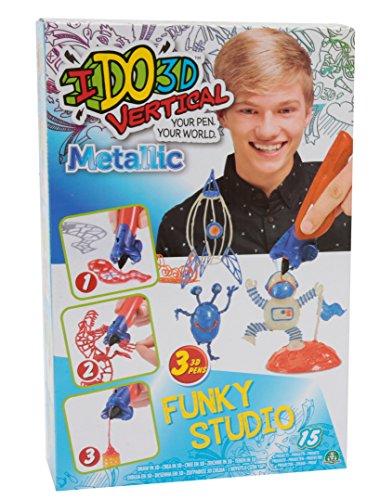 Giochi Preziosi- Giochi Preziosi-IDO3D Vertical Set Funky Studio Metallic con 3 Penne, Tema Veicoli, Disegno e Creazione in 3 Dimensioni, D3D09410